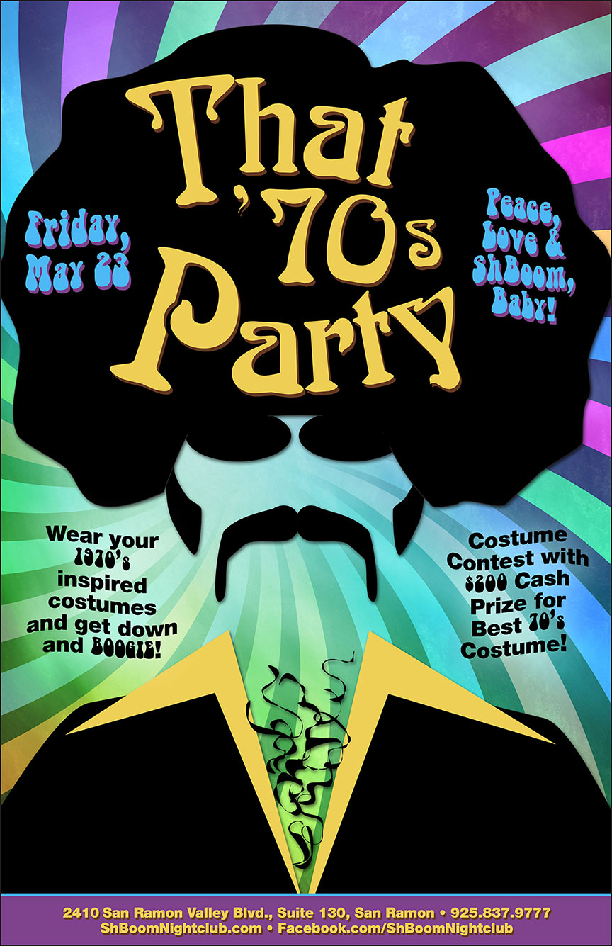 Retro 70's 1970's Nightclub Night Club Flyer Design