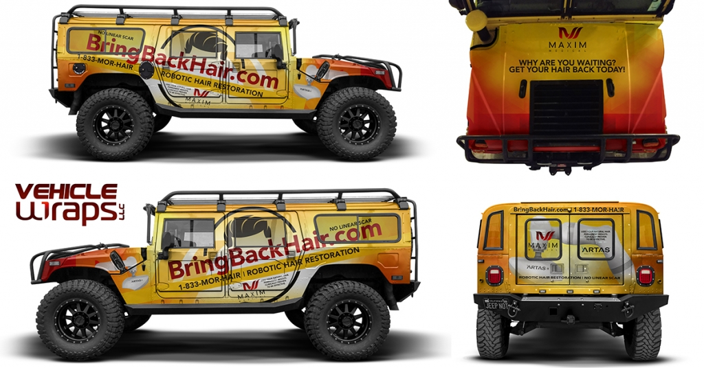 Stunningly dynamic vehicle wrap designed for Maxim Medical for use on their promotional company vehicle.