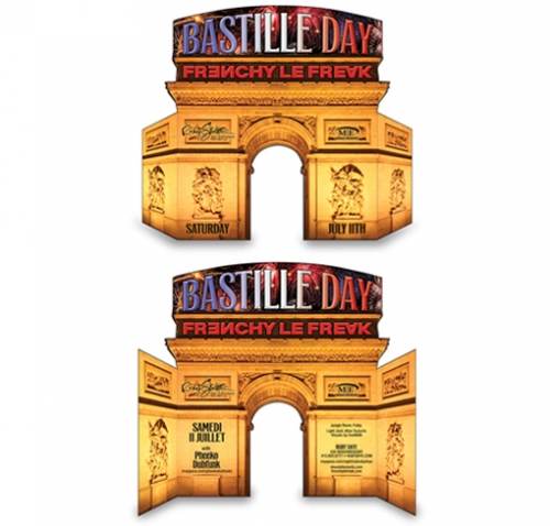 Bastille Day Folded Diecut Flyer