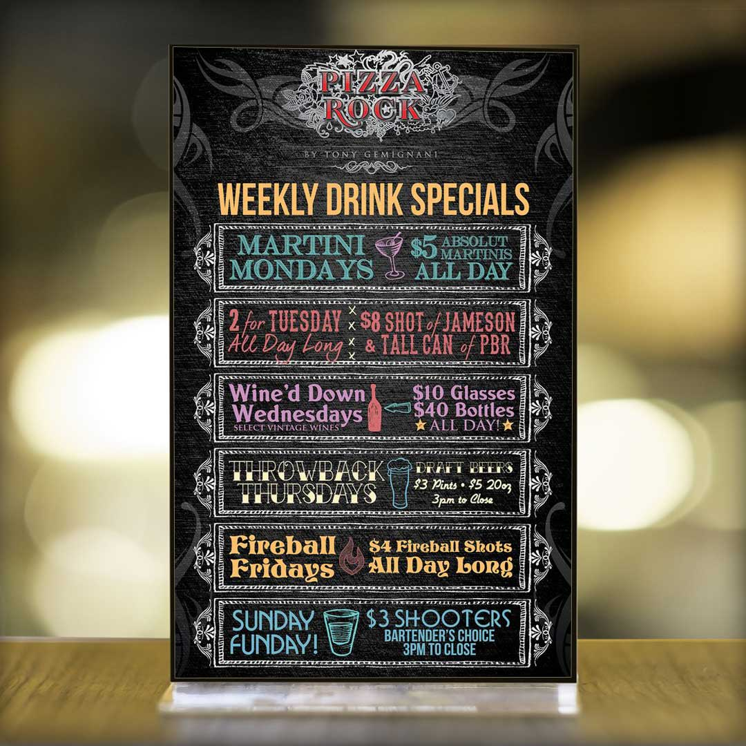 Weekly Drink Specials Special Menu Design