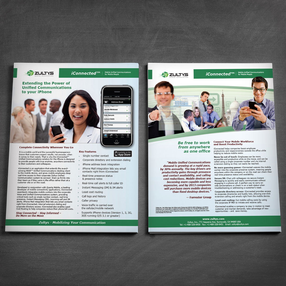 Telecommunications One Sheet Brochure Design