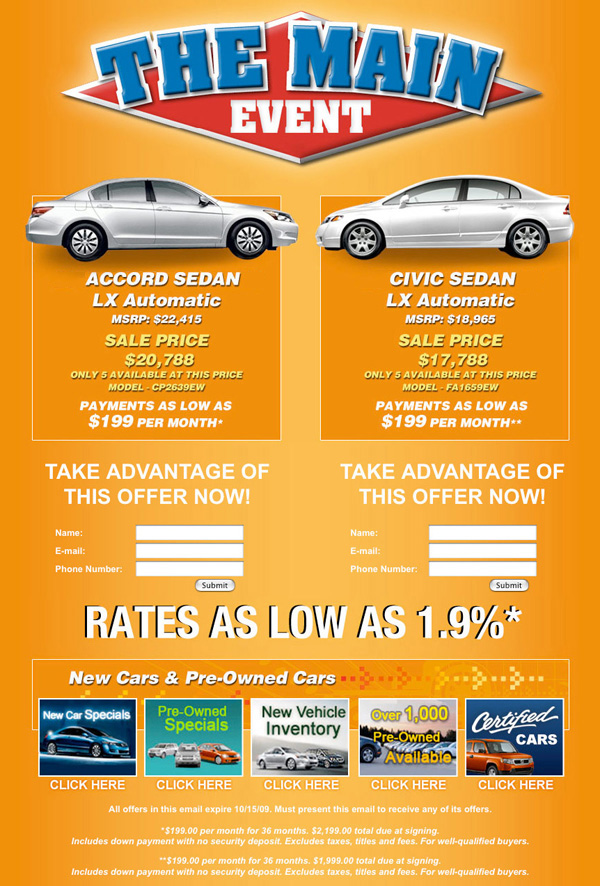 Car Dealership Automotive Cars Email Marketing Blast