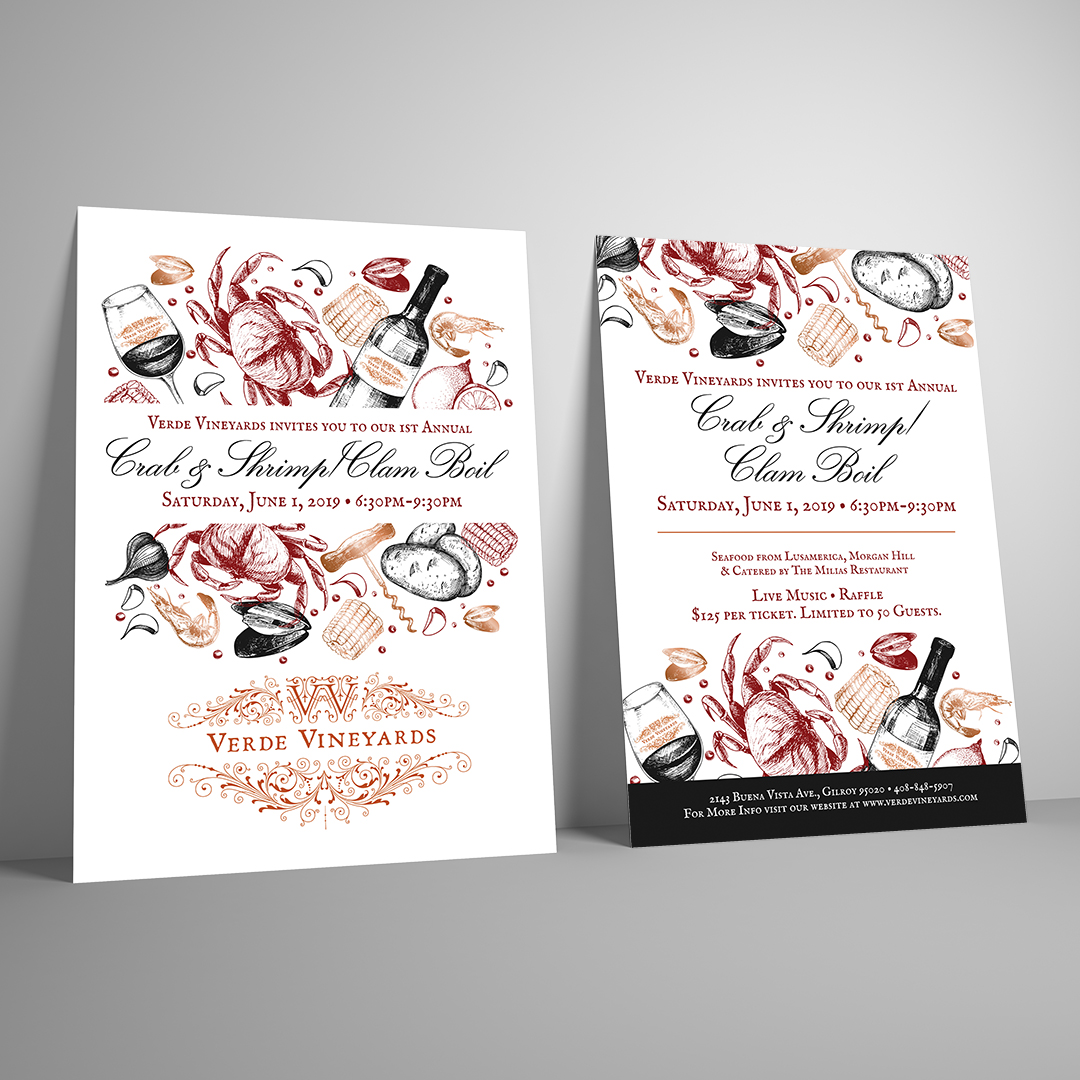 Winery Crab, Shrimp, Clam Boil Flyer Design