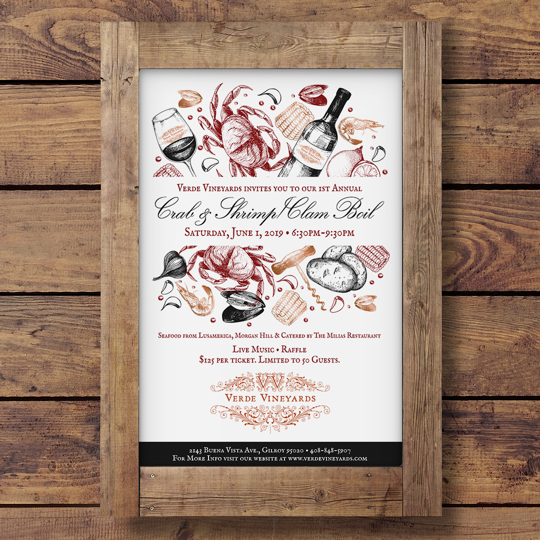 Verde Vineyards Crab, Shrimp, Clam Boil Poster Design
